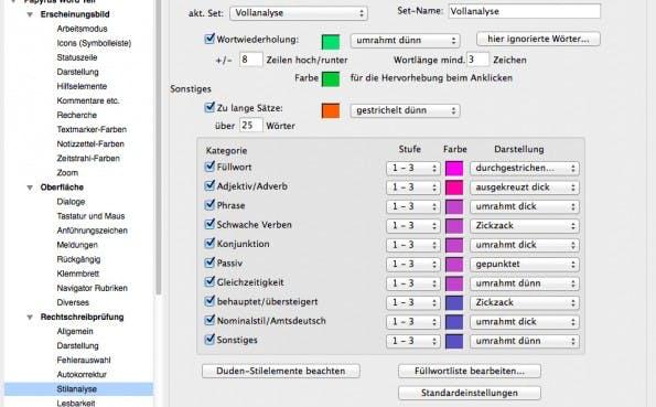 Stilanalyse: Papyrus Autor hilft euch dabei, schönere Texte zu verfassen. (Screenshot: t3n / Papyrus Autor)