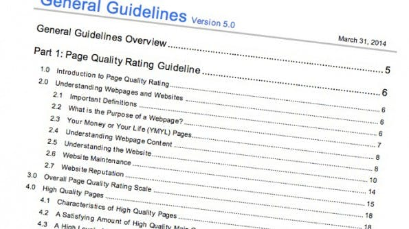 Die Quality Rater Guidelines von Google in aktueller Version. (Screenshot: scribd.com)