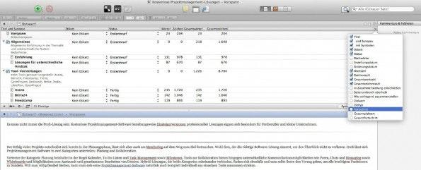 Die Gliederung lässt sich mit zusätzlichen Informationen und Statistiken zu den einzelnen Textbausteinen anreichern.