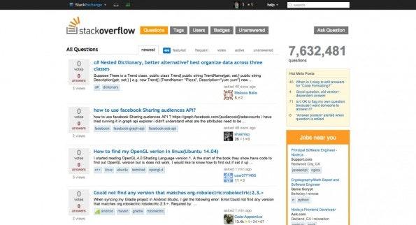 Die Fragen-Übersicht von Stack Overflow: Hochwertiger und technisch anspruchsvoller Rat. (Screenshot: stackoverflow.com)