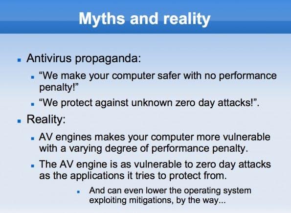 Antivirensoftware kann teilweise leicht als Einfallstor für Angreifer missbraucht werden. (Screenshot: Joxean Koret / SyScan360)