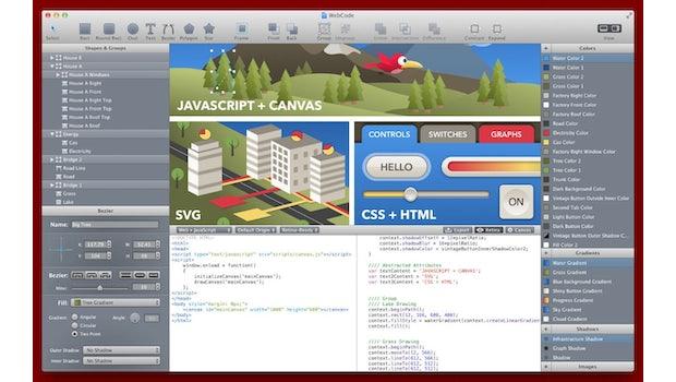MacHeist Nano Bundle: Mit WebCode befindet sich ein spannendes Design-Tool fürs Web im Paket. (Screenshot: MacHeist)