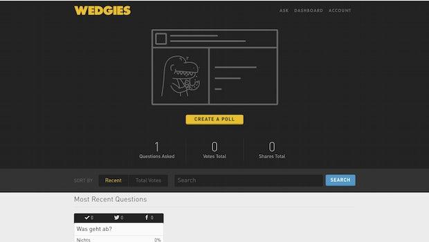 Mit Wedgies lassen sich Umfragen für die eigene Website und Soziale Netzwerke erstellen. (Screenshot: Wedgies)