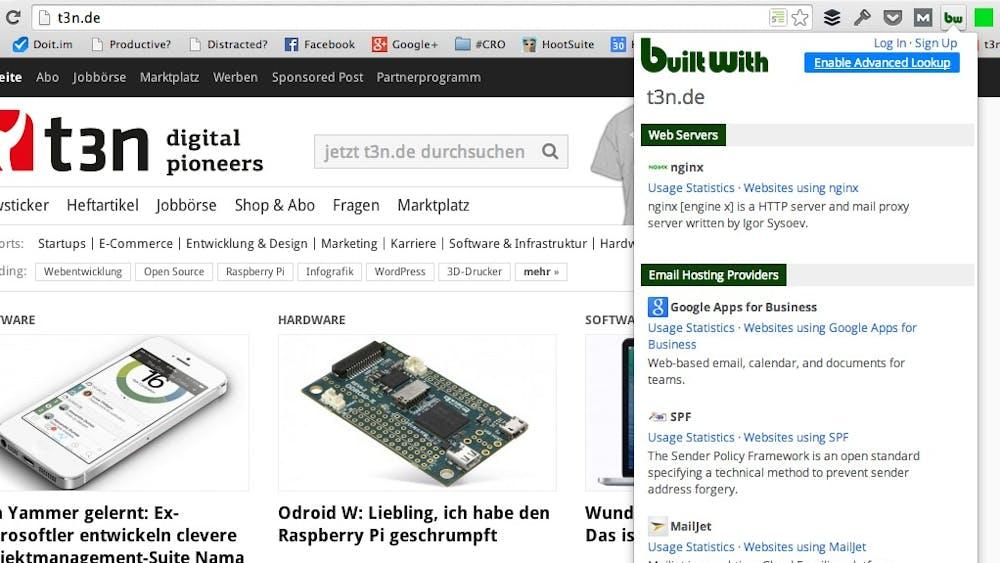 BuiltWith zeigt, mir welchen Diensten der Mitbewerber arbeitet. (Screenshot: t3n.de)