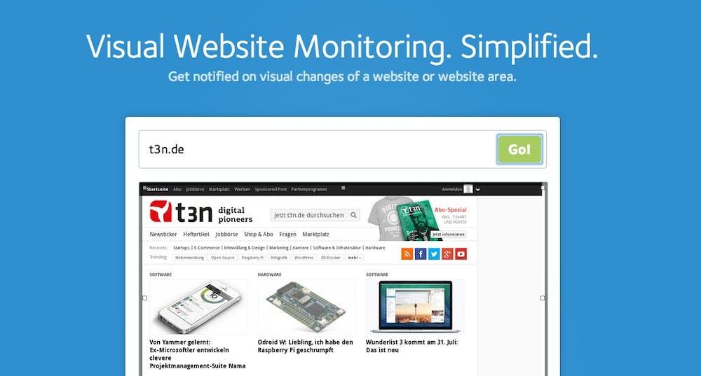 Informiert über Änderungen einer Webseite: Visualping.io. (Screenshot: visualping.io)
