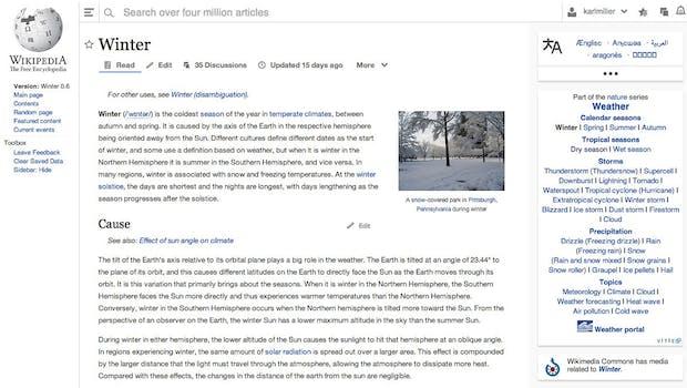 Wikipedia-Redesign: So sieht der aktuelle Prototyp aus. (Screenshot: Wikimedia)