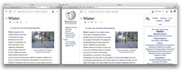 Wikipedia-Redesign: Der neue Look setzt auf responsives Webdesign. (Screenshot: t3n)