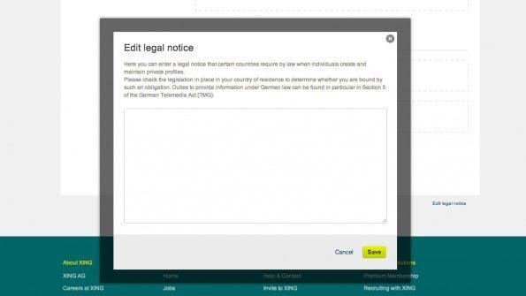 LG Stuttgart: Laut Gericht ist die Unterbringung des Impressumslink auf XING-Profilen unzulässig. (Screenshot: XING)