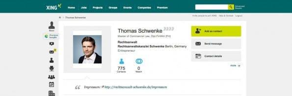 Ihr solltet dem Vorbild des Anwalts Thomas Schwenke folgen und einen zusätzlichen Link zum Impressum in eurer XING-Profilbeschreibung unterbringen. (Screenshot: XING)