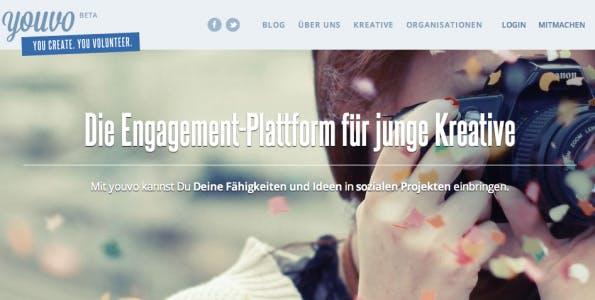 Youvo, die Engagement-Plattform für junge Kreative. (Screenshot: youvo.org)