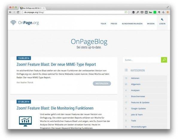 (Screenshot: OnPage.org)