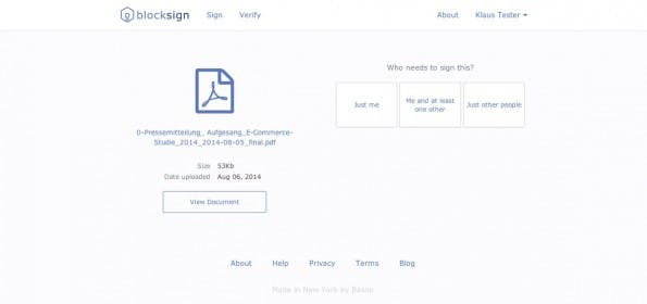 BlockSign hinterlegt digitale Signaturen im Bitcoin-Blockchain. (Screenshot: BlockSign)