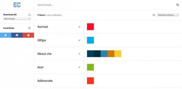 BrandColors zeigt Farbschemen von 261 Marken und ermöglicht das Suchen darin und das Erstellen von Kollektionen. (Screenshot: BrandColors)