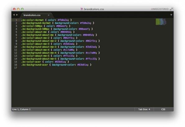BrandColors ermöglicht den Export aller Farben oder der Farben der eigenen Kollektion. Ob als SCSS, LESS oder wie hier normales CSS kann der Nutzer dabei auswählen. (Screenshot: Sublime Text)
