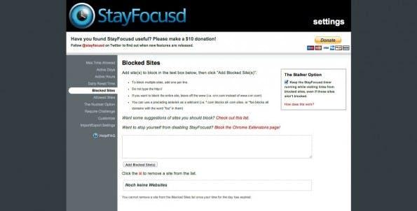 Chrome-Erweiterung: Mit StayFocused könnt ihr Webseiten blockieren die euch ablenken. (Screenshot: StayFocused)