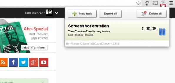 Diese Chrome-Erweiterung erlaubt Time-Tracking direkt im Browser. (Screenshot: Simple Time Track)