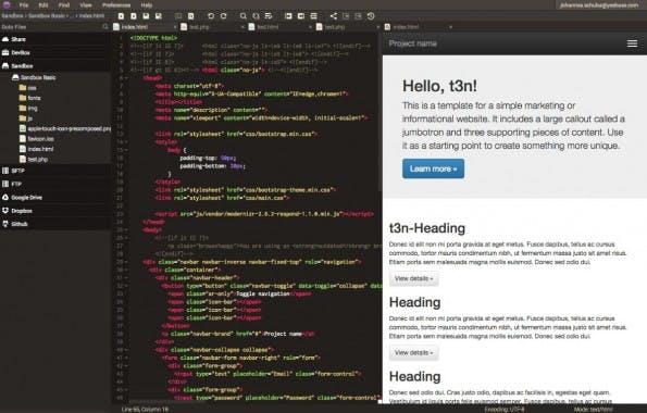 Codeanywhere hat standardmäßig eine dreispaltige Ansicht: links der File-Explorer, in der Mitte der Code-Editor, rechts die Vorschau. (Screenshot: Codeanywhere)