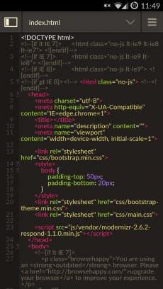 Codeanywhere ermöglicht das Coden mit seinen Apps auch auf dem Smartphone. (Screenshot: Codeanywhere)