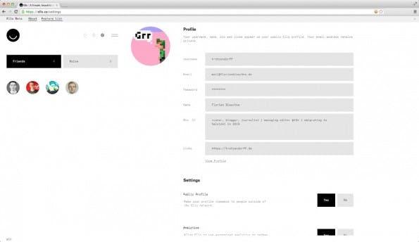In den Einstellungen können Ello-Nutzer auch angeben, ob Nutzungsdaten erhoben werden sollen. (Screenshot: Ello)