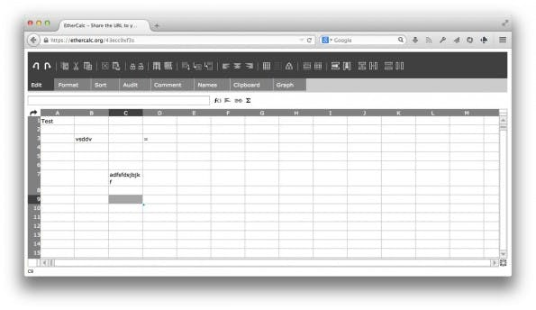 EtherCalc: Online-Tabellenkalkulation auf NodeJS-Basis. (Screenshot: EtherCalc)
