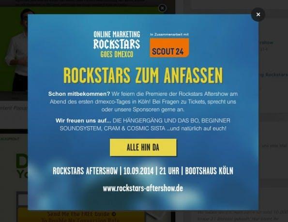 Exit-Intent-Popup bei den OnlineMarketingRockstars. (Screenshot: OnlineMarketingRockstars)