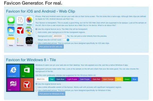 Nach dem Upload sind detailliertere Einstellungen möglich. (Screenshot: RealFaviconGenerator.net)