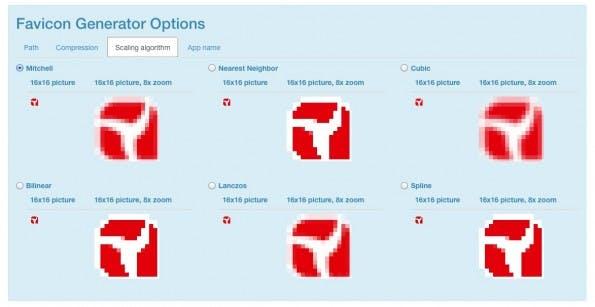 Der Favicon-Generator bietet die Möglichkeit, den Skalierungs-Algorithmus zu wählen. (Screenshot: RealFaviconGenerator.net)