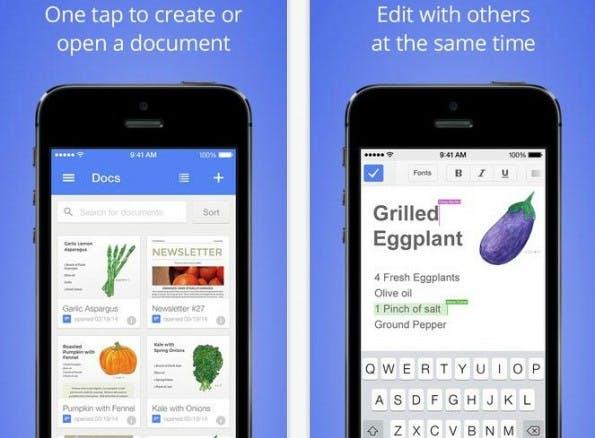Sowohl Google Docs als auch Google Tabellen unterstützen jetzt unter iOS auch Microsoft-Office-Dateien. (Bild: iTunes / Google)