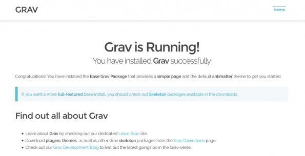 Sofort nach dem Entpacken einsatzbereit: Das CMS Grav. (Screenshot: Eigene Grav-Installation)