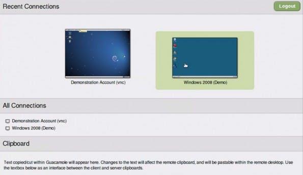 Remote Desktop: Guacamole erlaubt Fernwartung über einen HTML5-Client. (Screenshot: Guacamole)