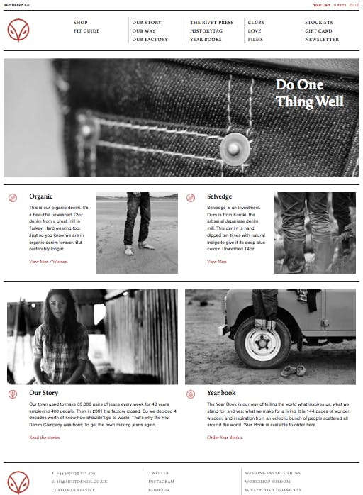 Hiut Denim: Handgefertigte Jeans in Limited Edition. Marke und Markengeschichte. (Screenshot: Hiut Denim)
