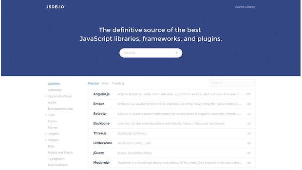 JSDB.io bietet eine praktische Übersicht über JavaScript-Libraries-, -Plugins und -Frameworks. (Screenshot: JSDB.io)