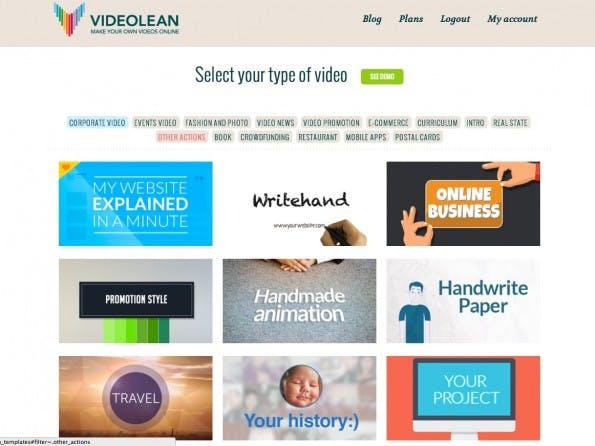 Fast 50 Templates stehen zur Erstellung von Marketing-Videos bei VideoLean zur Verfügung. (Screenshot: VideoLean)