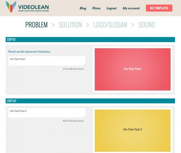 Der Editor von VideoLean ist einfach: Links werden die Texte angegeben, rechts zeigt das Tool eine Vorschau. (Screenshot: VideoLean)