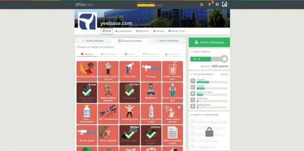 Aus fünf verschiedenen Kategorien können Aktivitäten ausgewählt werden. Von Haus aus sind mehr als 250 schon dabei. (Screenshot: Officevibe)