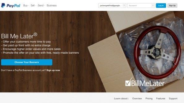 Paypal-Einkäufe auf Rechnung abwickeln.(Screenshot: billmelater.com)