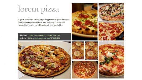 Platzhalter: Pizza kann ja eigentlich nie schaden. (Screenshot: pizzalorem)