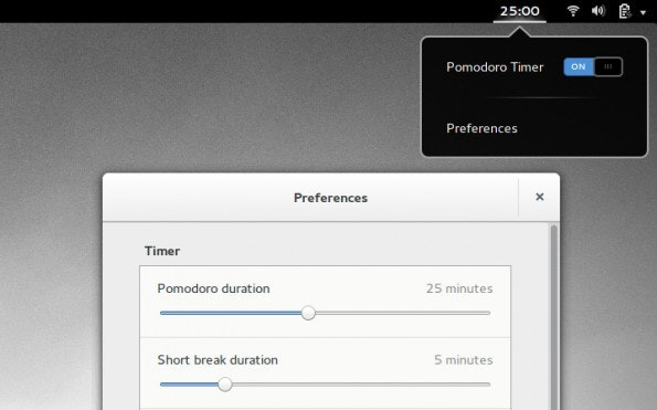 Pomodoro-Timer als Gnome-Shell-Erweiterung. (Screenshot: GitHub)