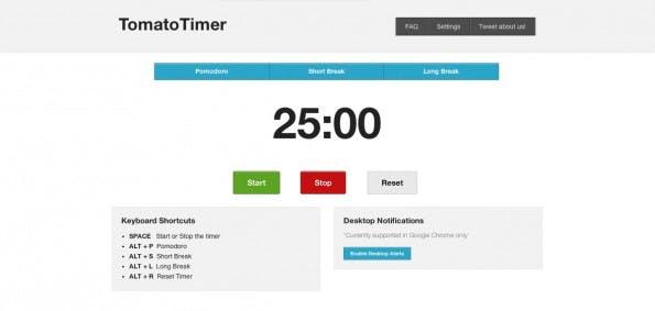 Pomodoro-Timer gibt es auch als einfache Web-Apps. (Screenshot: TomatoTimer)