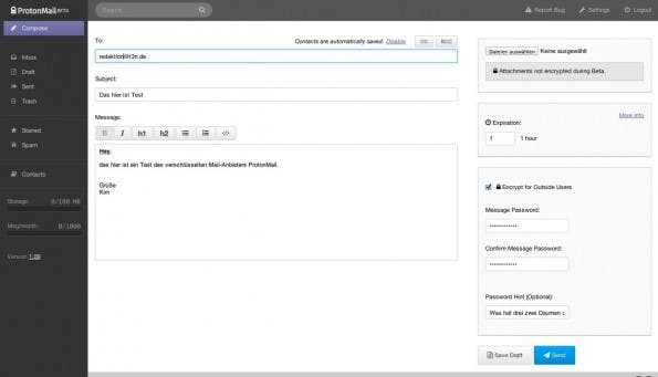 ProtonMail bietet alle Features, die man von einem Web-Mail-Anbieter erwarten würde. (Screenshot: ProtonMail)