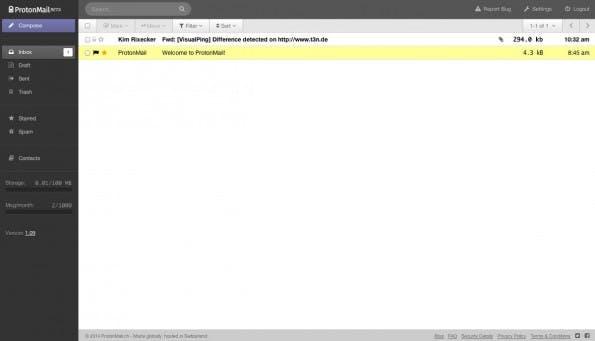 ProtonMail bietet eine einfache Web-Mail-Oberfläche für verschlüsselte Nachrichten. (Screenshot: ProtonMail)
