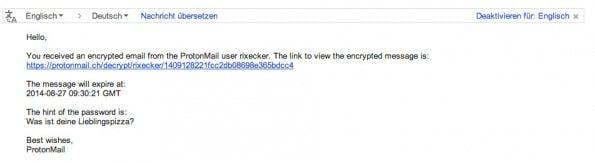 Mit ProtonMail könnt ihr auch verschlüsselte Nachrichten an Nutzer anderer Mail-Dienste versenden. (Screenshot: Gmail)