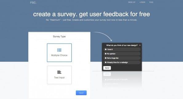 Simpel und schick: Anders als andere Tools für Online-Umfragen kann mit dem Freesurveycreator nur eine Frage erstellt werden, die in die eigene Website eingebunden wird. (Screenshot: freesurveycreator.com)