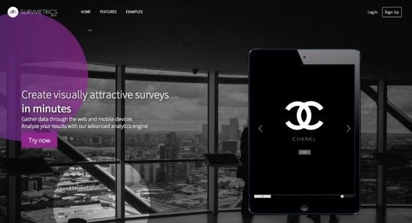 Schick, leicht und responsive Design an Bord: Auch ohne Design-Kenntnisse lassen sich mit Survmetrics schicke Umfragen erstellen. (Screenshot: survmetrics.com)