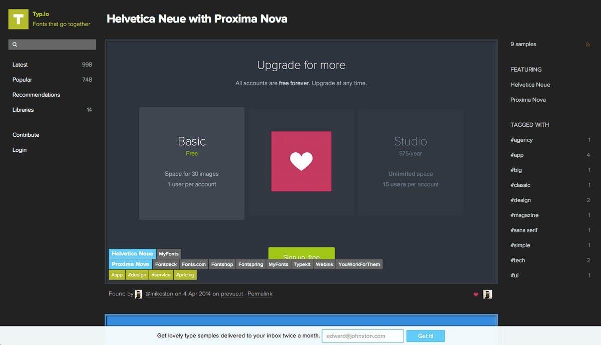 Typ.io hilt bei der Auswahl passender Schriften. (Screenshot: Typ.io)
