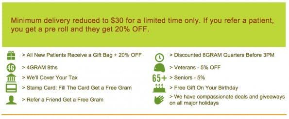 Rabatte und Sonderaktionen beim Bestellen von Marihuana in San Francisco. (Screenshot: medithrive.com)