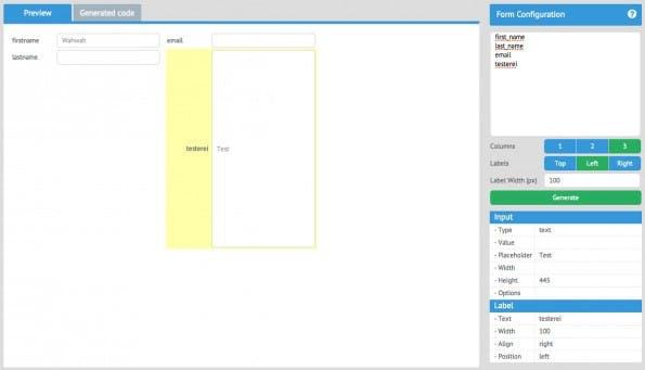 Webix Form-Builder: In kurzer Zeit zum fertigen Formular. (Screenshot: Webix)