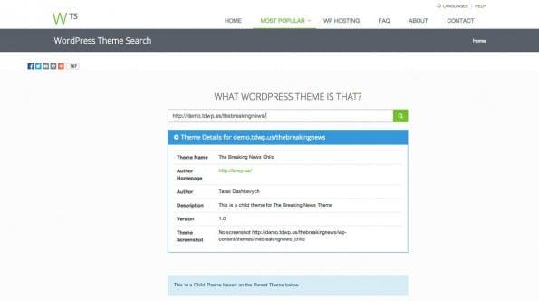 WordPress Theme Search und WPThemeDoctor liefern euch zusätzliche Informationen zu erkannten WordPress-Themes. (Screenshot: WordPress Theme Search)