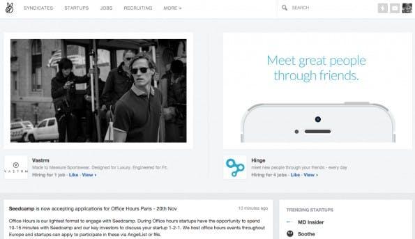Beliebte Startups, Jobs und Aktivitäten werden auf der Startseite angezeigt. (Screenshot: AngelList).