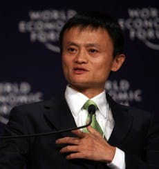 """Jack Ma 2008"" by World Economic Forum - Copyright World Economic Forum (www.weforum.org)/Photo by Natalie BehringUploaded to Wikipedia (cc-by-sa-3.0,2.5,2.0,1.0; GFDL)from Flickr Jack Ma (cc-by-sa-2.0). Licensed under CC BY-SA 3.0 via Wikimedia Commons."